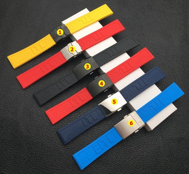 Natureza macia silicone borracha pulseira de relógio 22mm 24mm pulseira para navitimer/avenger/breitling correia fivela dobrável logotipo