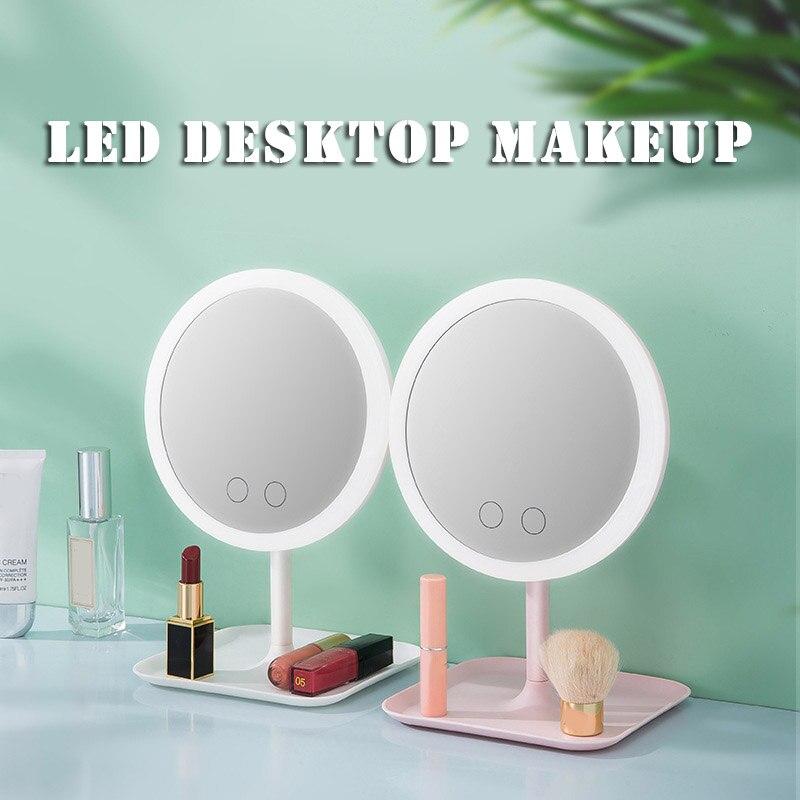 Espelho de Maquiagem Espelho de Vestir Espelho para Casa Iluminado Desktop Preenchimento Feminino Portátil Beleza Viagem Espelhos Decorativos Led Luz