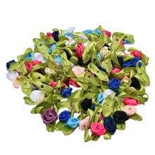 100 Pcs DIY 꽃 아플리케 새틴 리본 장미 Scrapbooking 봉제 수제 작은 결혼식 파티 공예 장식 판매
