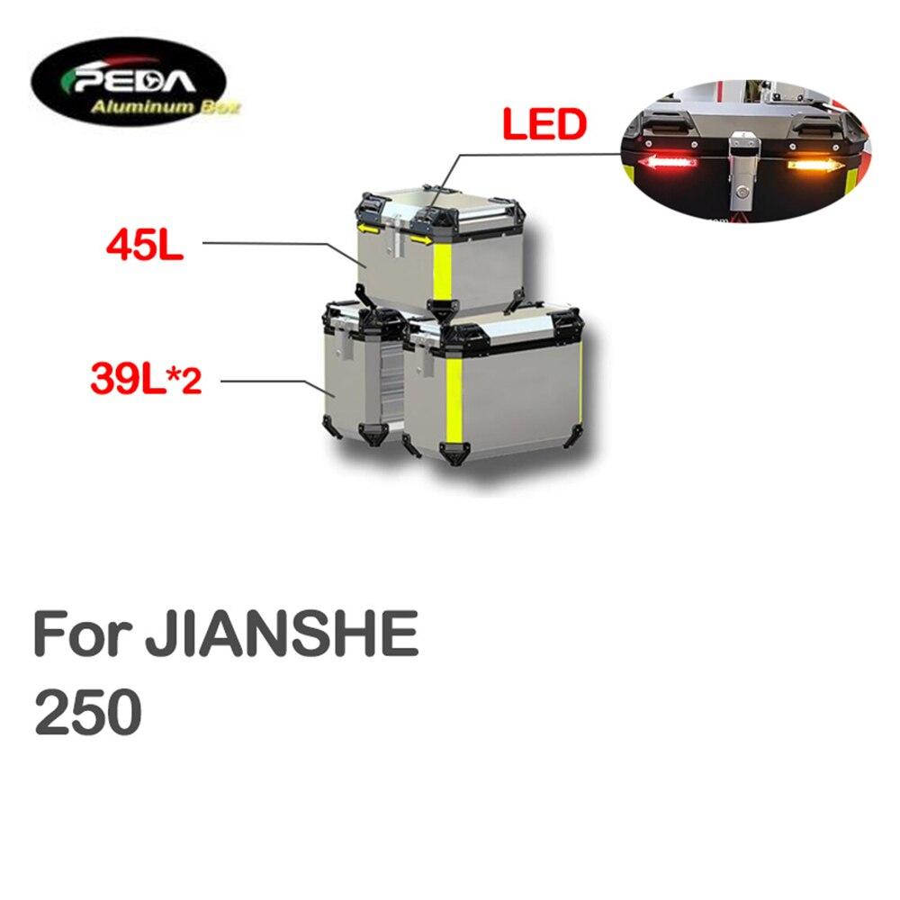 V5-24 دراجة نارية صندوق من الألومنيوم مع LED Winker 45L المزدوج 39L Panniers أفضل حالة الجانب بانير ل JIANSHE 250 سكوتر الخلفي الجذع