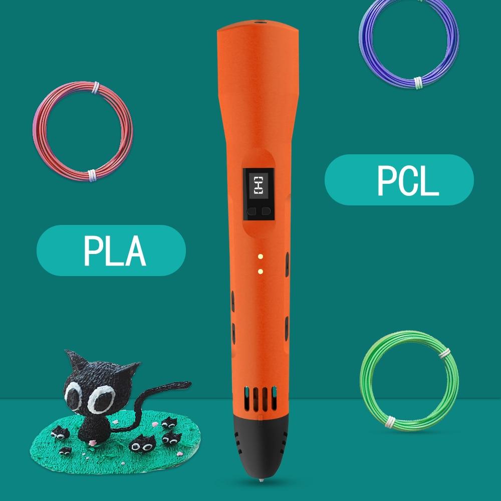 QCREATE 3D Pen Support PCL PLA Printing Materials LCD Screen Low Temperature 3D Stereo Pen + 100 Meters 20 Colors Filament
