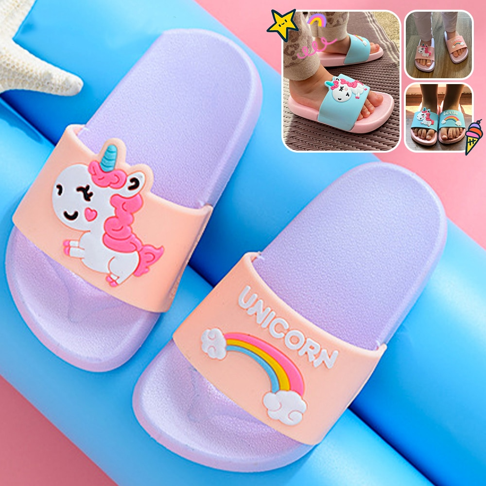 Rainbow Unicorn Slippers For Kids New Summer Boy Girl Beach Shoes Baby Toddler Soft Indoor Bathroom