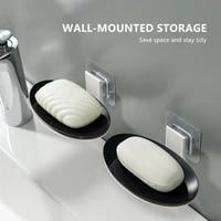 Nouvelle Ventouse Mural Boite a Savon Menage Vidange ABS Ovale Savon Toilette Gratuit Poincon Rack Salle De Bain Simple Porte-Savon
