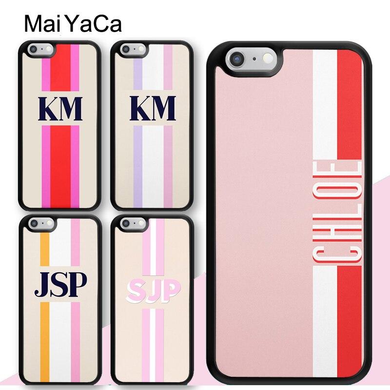 Maiyaca monograma inicial listra caso nome personalizado para o iphone xr x xs max 12 mini 11 pro max se 2020 6s 7 8 mais capa