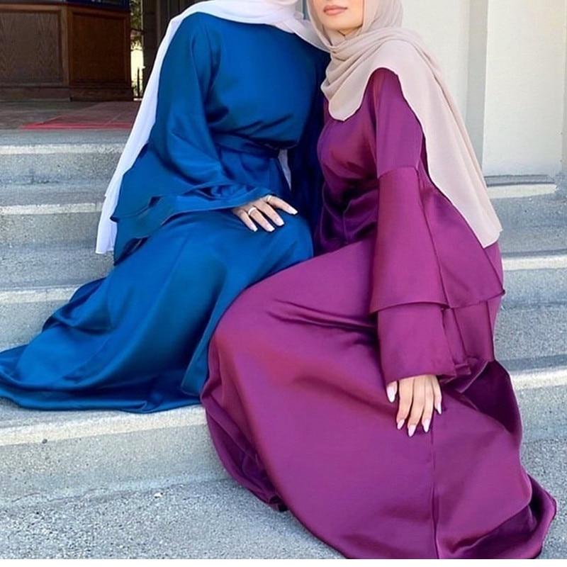 رمضان عيد مبارك مسلم موضة فساتين الساتان للنساء عباية دبي تركيا الإسلام الحجاب فستان Vestidos رداء Musulmane Longue