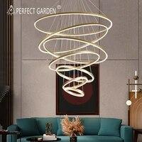 modern led chandelier home pendant lighting gold coffee white black rings chandelier ceiling mounted lighting hanging lamp