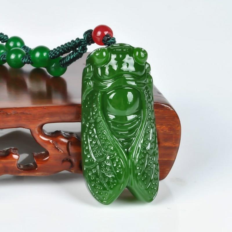 Натуральный зеленый нефритовый камень, кулон Цикада, бисер, ожерелье, Китайский жадеит, ювелирных изделий, амулет рейки, резные Подарки для женщин