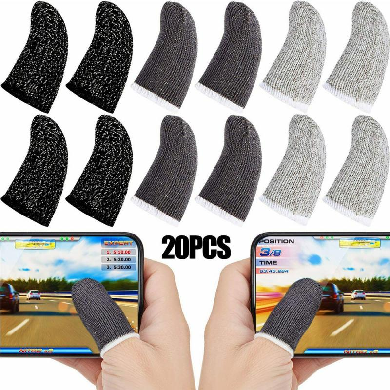 20pcs Breathable Sweat Proof Professional Touch Screen Thumb Finger Sleeve For Pubg Mobile Phone Gam