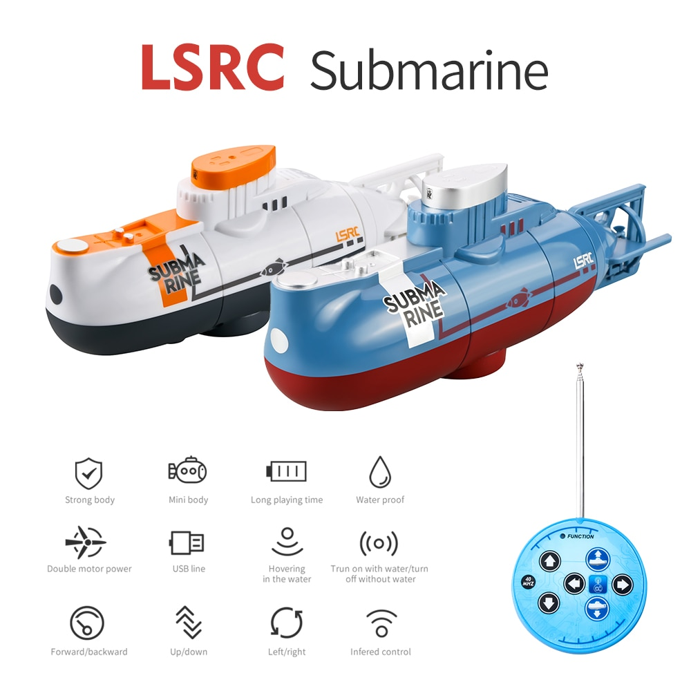 New 2021LSRC mini Remote Control Submarine Waterprooof Diving Toy simulation model Boat multifunction remote control submarine