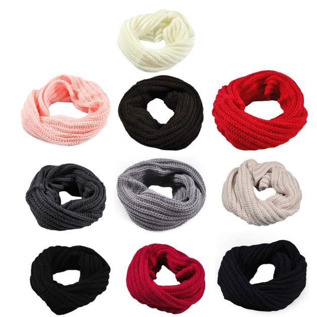 Par de bufandas tejidas de lana con capucha bufanda babero de punto circular bufanda de tipo chal de lana abrigo de invierno cálido Collar babero Scarves3Q