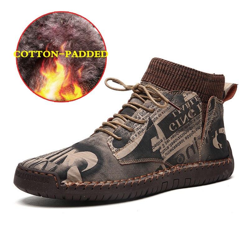 Классические винтажные зимние мужские ботинки, Мужская замшевая обувь ручной работы, модные мужские Ботильоны больших размеров 38-48, уличны...