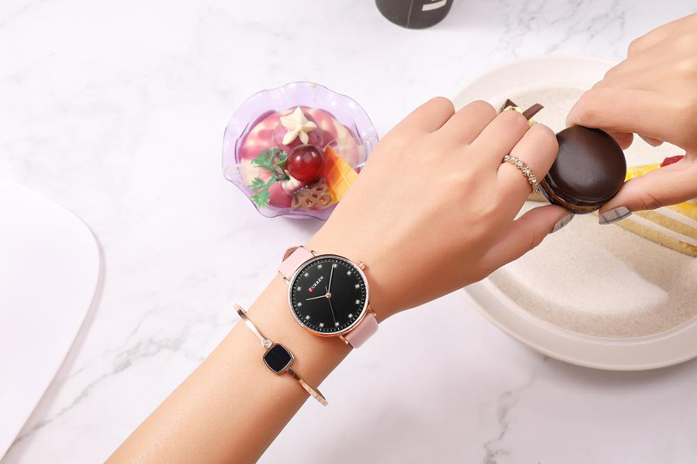 CURREN Women Watch Stylish 2019 Quartz Wristwatch Pink Leather Strap Classic Luxury Rhinestone Ladies Watches Relojes Para Mujer enlarge