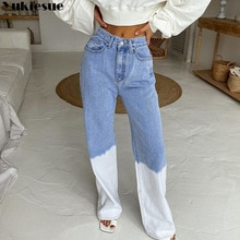 Chic Fashion Denim Blue Gradient Baggy Jeans for Women Straight wide Leg High Waist Jeans Harajuku L