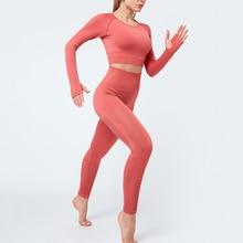 BINAND Hollow Yoga Set Thumb Hole Sports Suit Tummy Control Fitness Clothing Push Up Gym Set Sportswear Women Training Sport Set