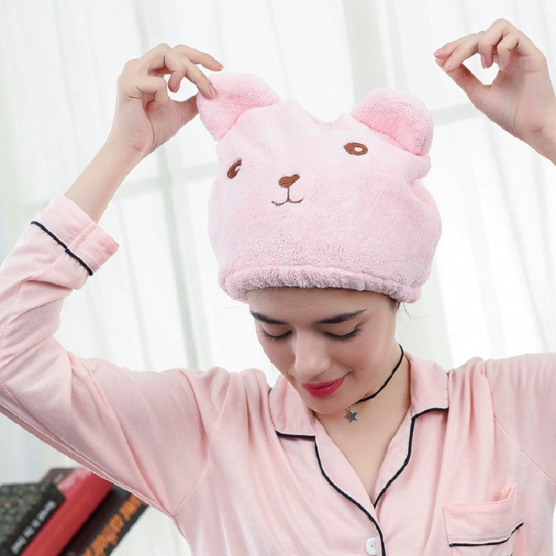 Cute Animal Cartoon Hair Dryer Cap on the Super-Absorbent Hair Quick-Drying Turban Adult Thickened Water-Absorbing Shower Cap