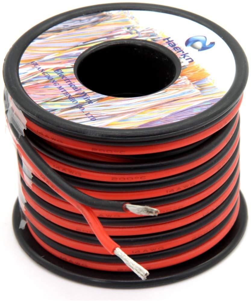 سلك كهربائي 14 awg من السيليكون 2 موصلان 15 م (أسود 7.5 م أحمر 7.5 م) نحاس مطلي بالأكسجين
