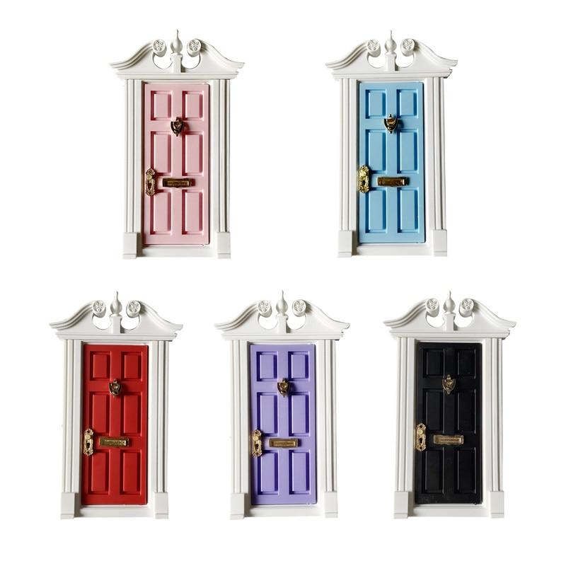 112 maison de poupée miniature dents fée porte rose clair à lextérieur poupées ouvertes pièces cadeau de mode 3 Style matériel accessoires