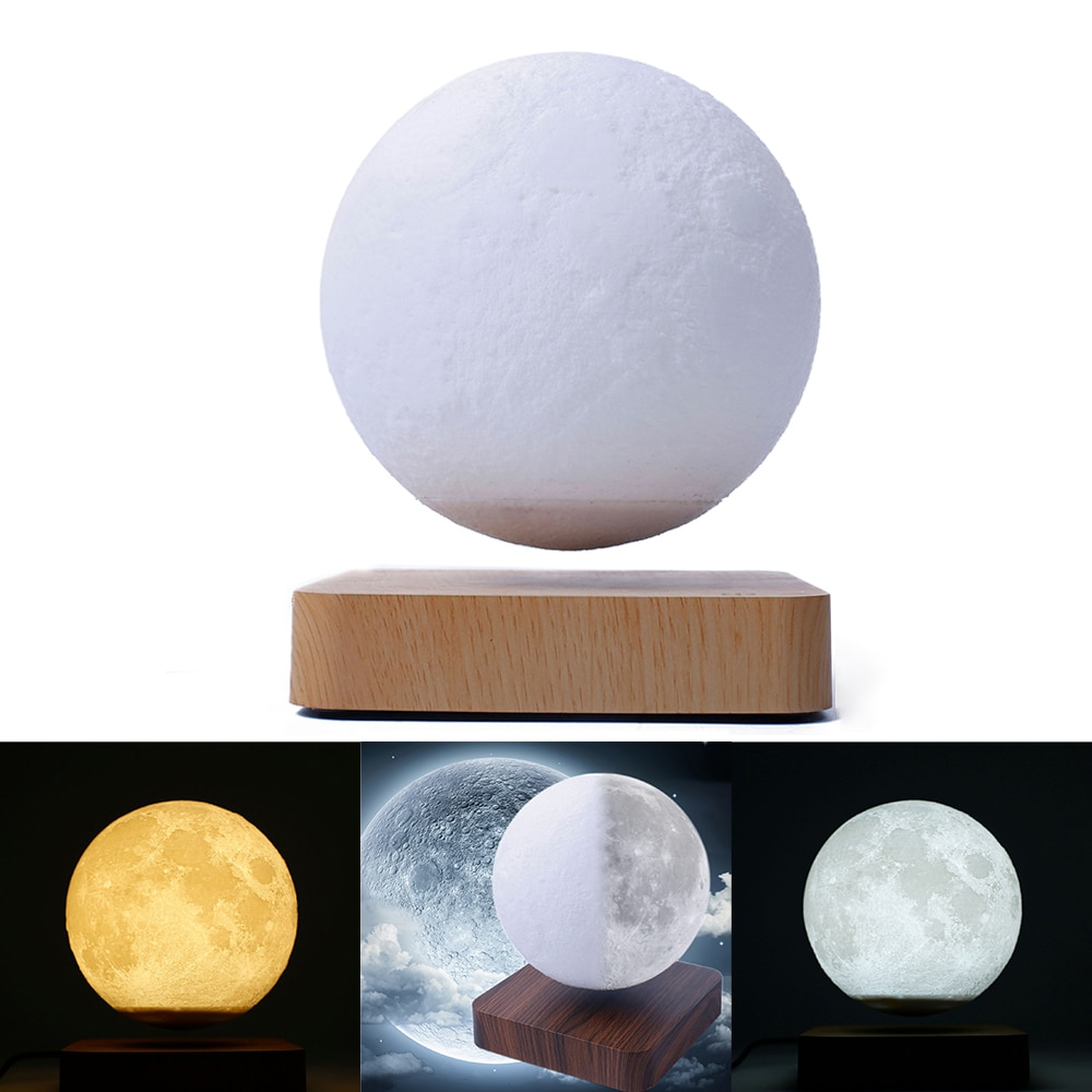 Creativity Magnetic Levitation Moon Lamp LED Touch Night Light 3D Printing Desktop Decorate Lights for Room Decor Christmas Gift