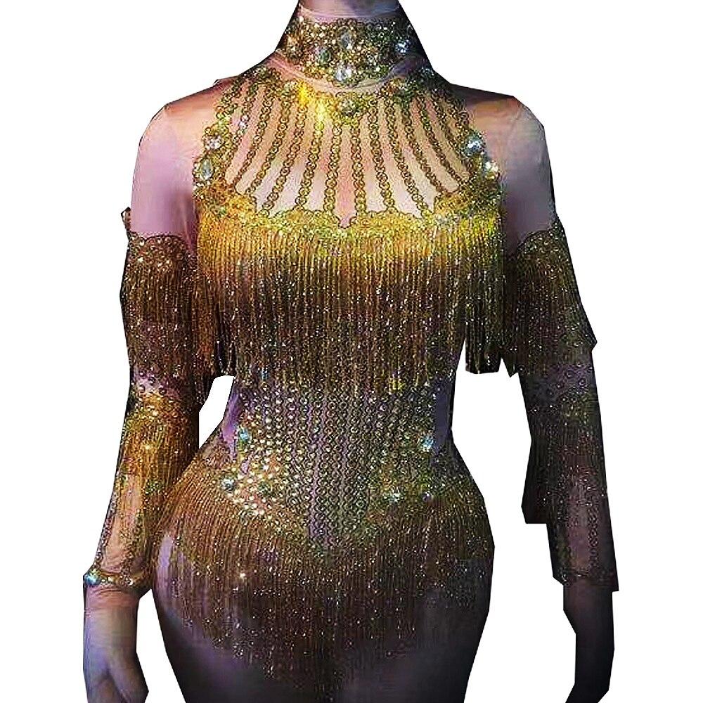 ساطع الماس الذهب شرابة طويلة الأكمام قبالة الكتف ارتداءها نحيل تمتد حللا مساء حفلة موسيقية ملابس تنكرية للحفلات ملابس المرحلة