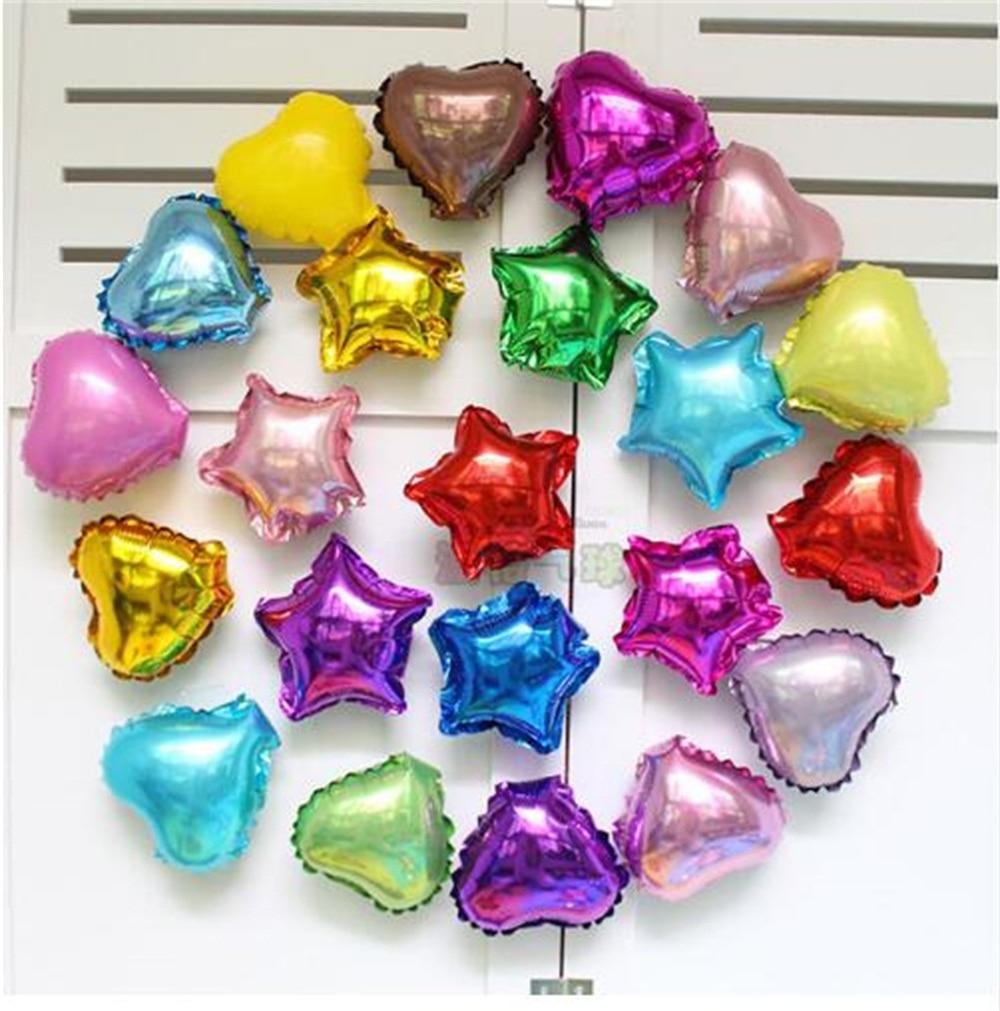 100 шт., 5 дюймов, разноцветные Звездные воздушные фольгированные шары в форме сердца, украшение для дня рождения, свадьбы, однотонные баллоны ...