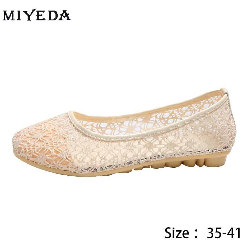 Maille chaussures décontractées mode ronde évider chaussures en tissu plat dames chaussures été respirant maille chaussures anti-dérapant Mary Jane chaussures
