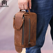 MISFITS crazy horse genuine leather men wash bag casual travel cosmetic case vintage cow leather mak