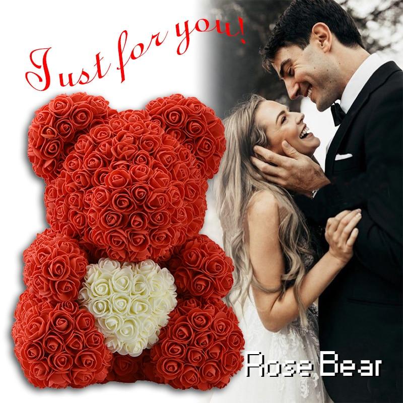 حار بيع الأحمر الدب روز الاصطناعي الزهور Teddi الدب من روز الديكور عيد الحب عيد الميلاد يوم هدية للنساء دروبشيبينغ