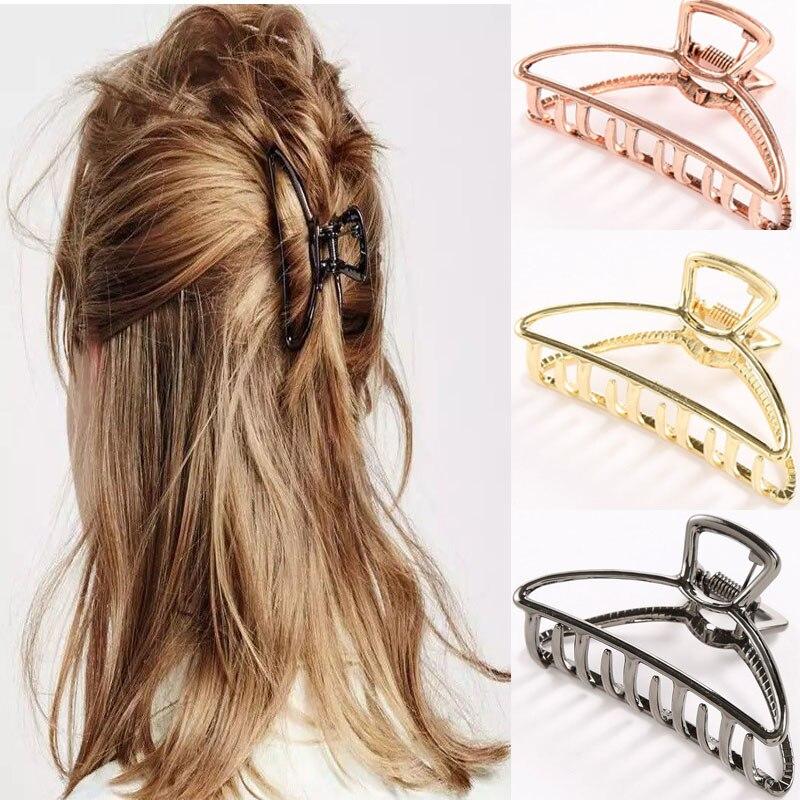 2019 abrazaderas de garra para el cabello geométricas para mujeres y niñas, pinzas para el cabello con forma de cangrejo y Luna, accesorios de Color sólido, horquilla de tamaño grande/pequeño