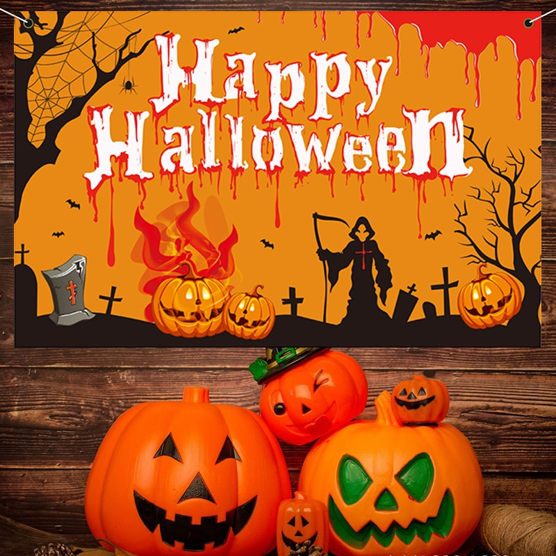 Happy Halloween Banner Printed Background Cloth Creative Theme Party Supplies for Home Bar Haunted House Decoration HE