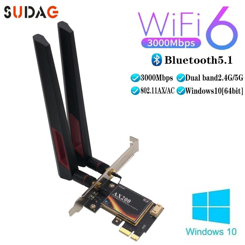 3000Mbps Wifi 6 Wireless AX200 Desktop PCIe Wifi Adapter Bluetooth 5.1 802.11ax Dual Band 2.4G/5GHz