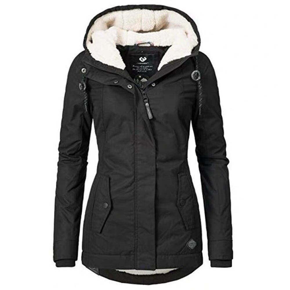 Vrouwen Katoen Gewatteerde Jas Herfst Winter Hooded Casual Uitloper Parka Jas Overjassen Verdikking Warme Gothic Black Jassen Outwears