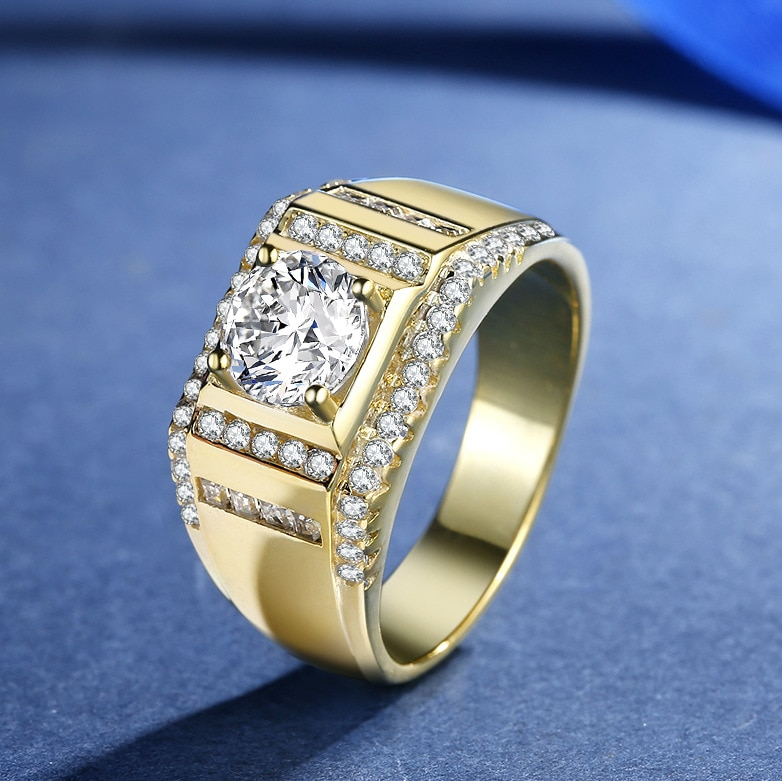 24k Pure Gold 1.25 Carat Diamond Ring for Men Fine Jewelry 925 Silver Ring Wedding Anniversary Accessories Gift 2021 Trend