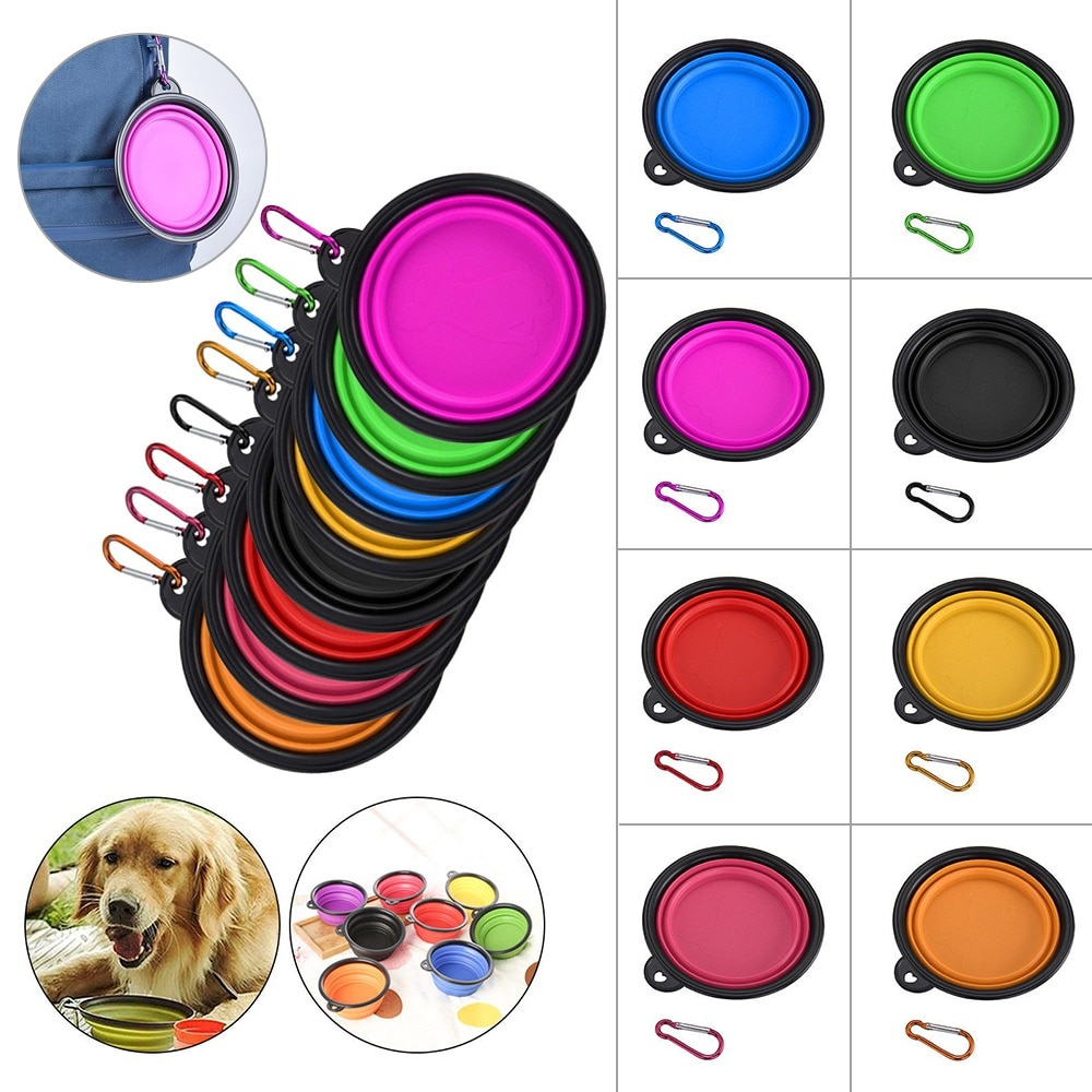 Dog Bowl Foldable Silicone Pet Cat Dog Food Water Feeder Accessories Travel Portable Feeding Bowls Puppy Supplies Food Container  - buy with discount