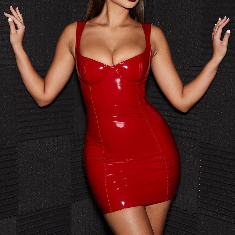 Femme sexy robe en cuir pu look humide moulante robe en latex décapant pôle tube robe chaude exotique dancewear sexy mini robe clubwear