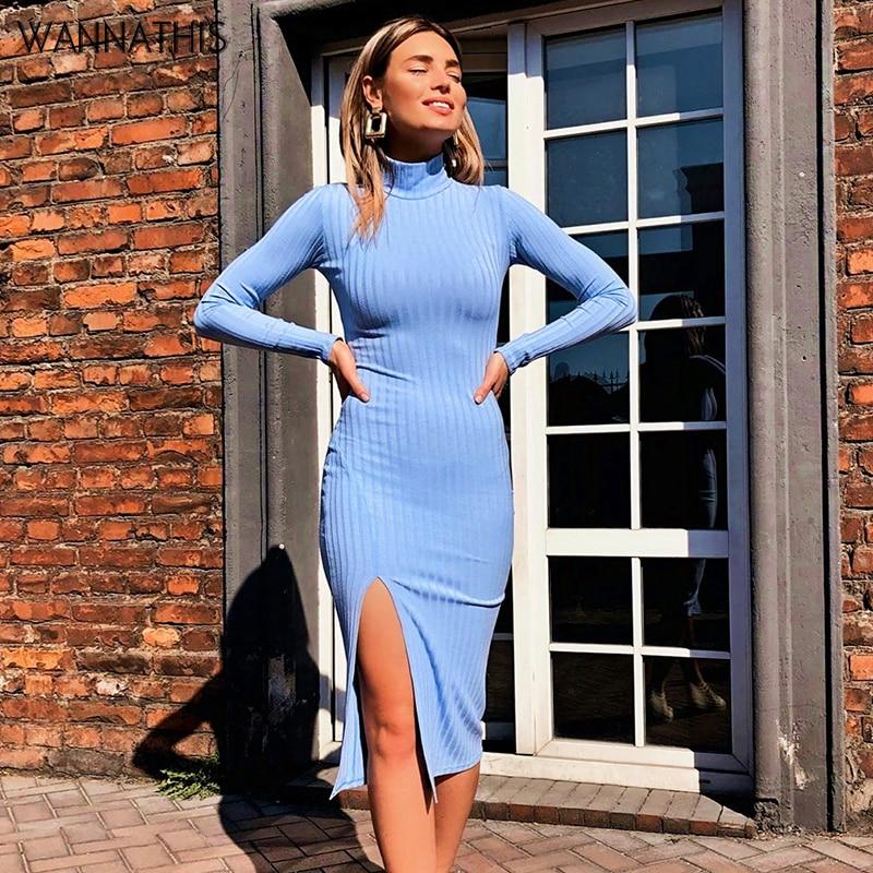 WannaThis Sexy vestidos de fiesta hasta la rodilla de algodón acanalado de punto cuello alto sólido Split manga larga otoño Mock Neck elegante vestido