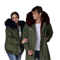 couple winter long parka big sale mr mrs fur wear real huge raccoon fur hoodies casual wear parka