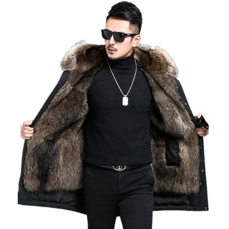 معطف فرو الراكون الطبيعي للرجال ، سترة شتوية طويلة دافئة ، مقاس كبير 5xl ، MY1812
