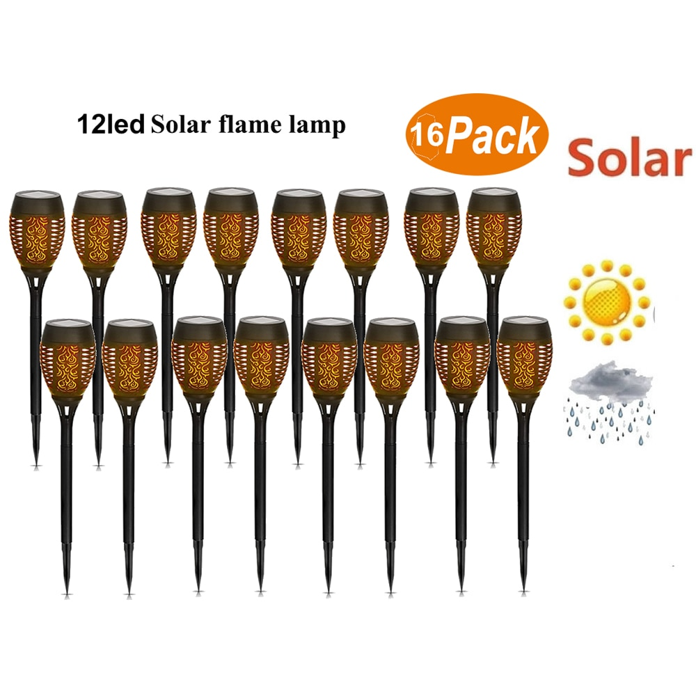 16 قطعة الشمسية لهب الخفقان أضواء حديقة LED IP65 في الهواء الطلق الشمسية تيكي مصباح شعلة الأضواء المشهد الديكور led مصباح