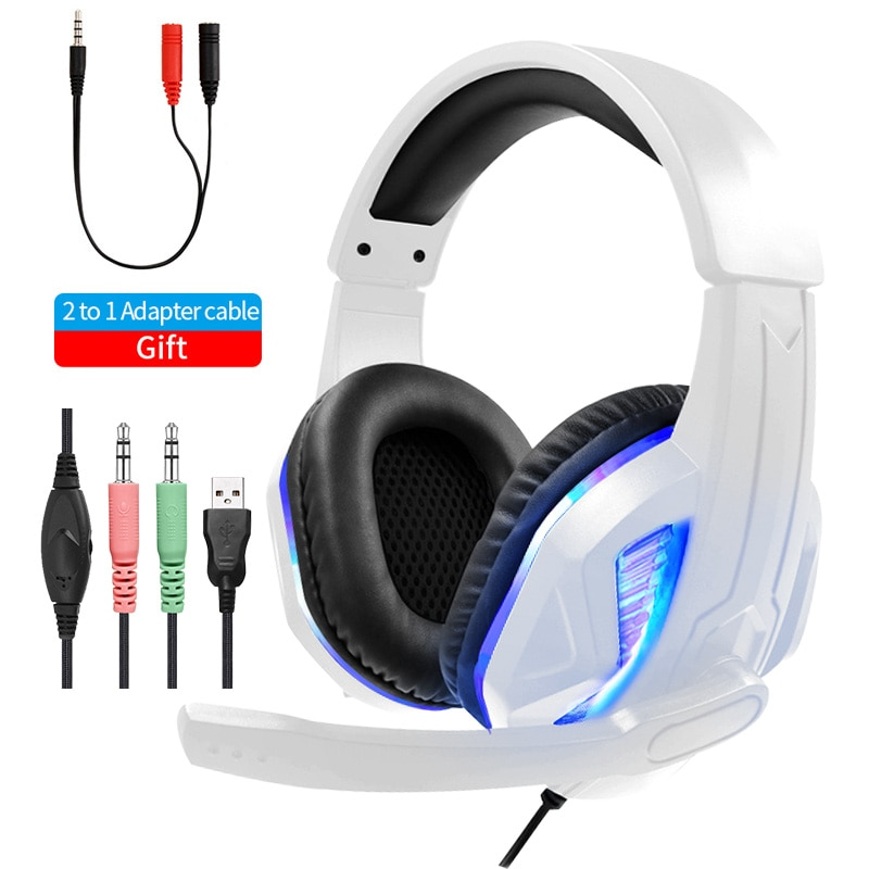 كمبيوتر LED سماعات رأس للألعاب لأجهزة الكمبيوتر PS4 PS5 كمبيوتر محمول ، 3.5 مللي متر جاك ستيريو باس الذكي ألعاب سماعة رأس بمايكروفون