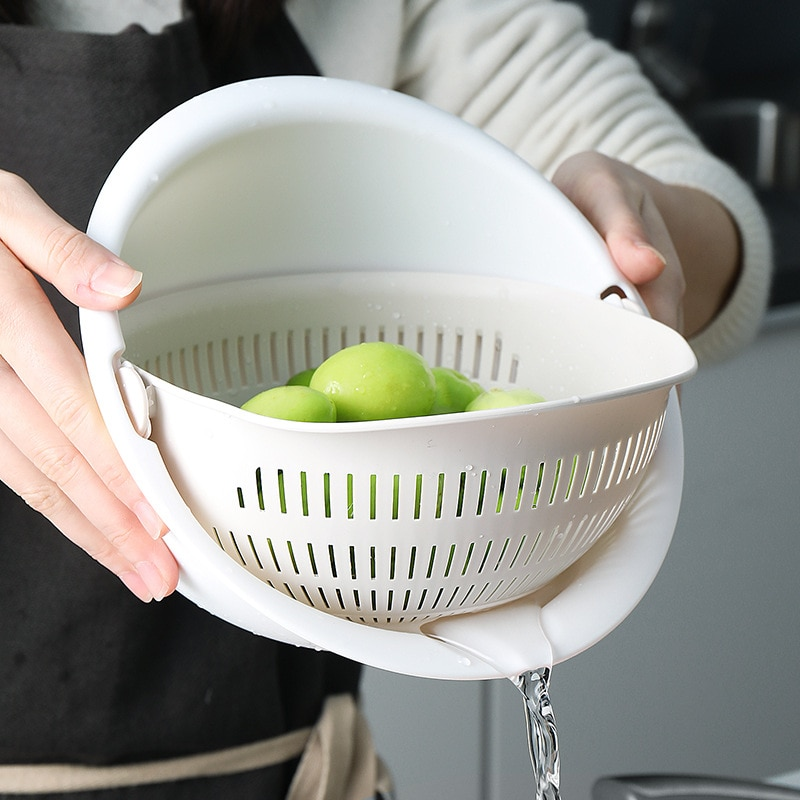 مزدوجة البلاستيك استنزاف سلة المطبخ السلطانية المعكرونة الخضار الفاكهة الأرز غسل مصفاة قطعة أثرية المنزل تجمع تجفيف المنظم