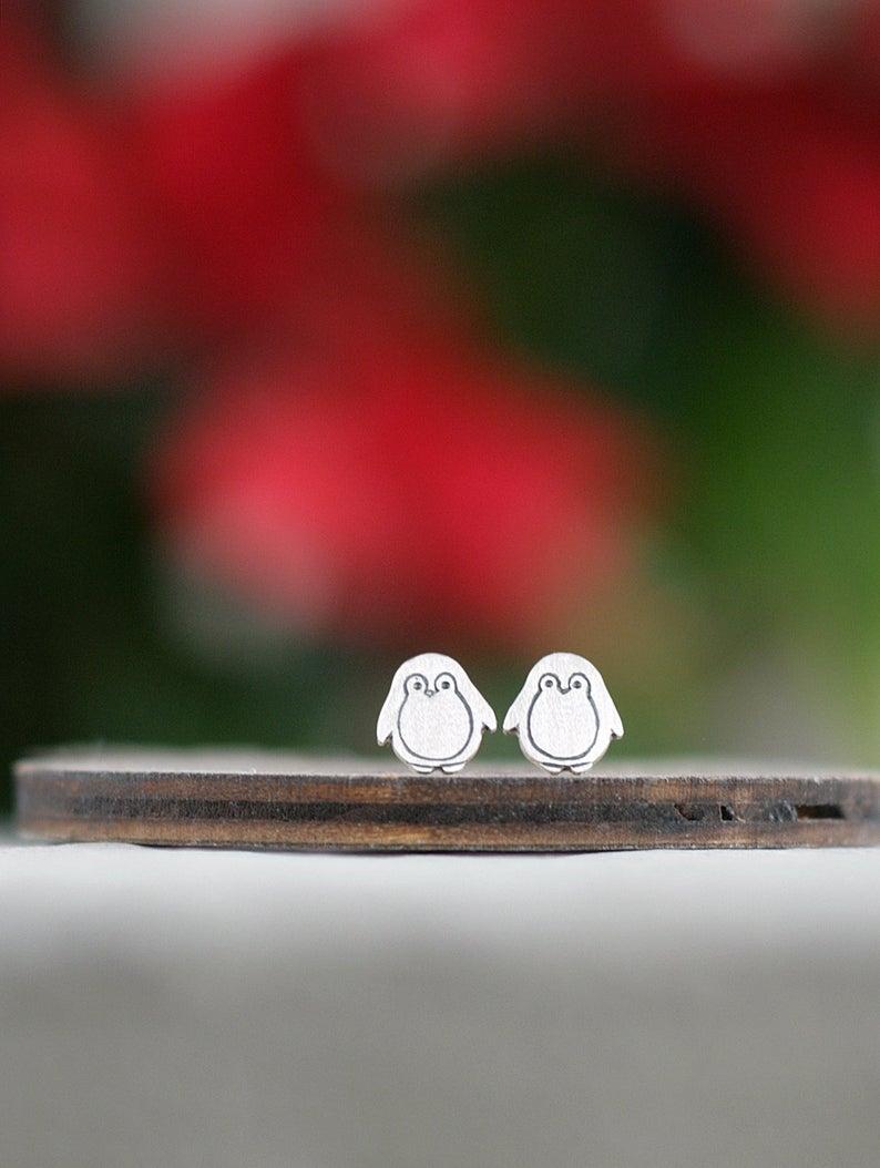 Penguin Stud Earrings Fashion Tiny Cute Cartoon Animal Earring Jewelry Gift For Woman Girls Kids Acc