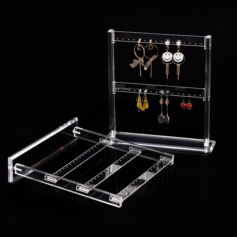 Прозрачный из акрила для серег ожерелья демонстрационный стенд полка держатель серьги ювелирных изделий выставочный стенд для витрина 2-сл...