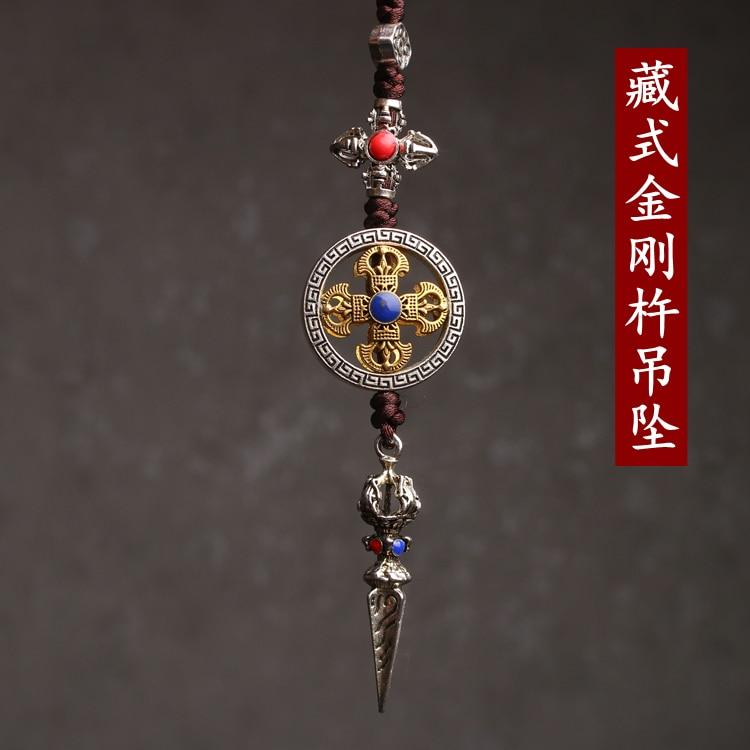 Tibetano tántrico Cruz mortero Vajra etiqueta budista arma mágica que subyuga al diablo pestle que disipa el mal transporte