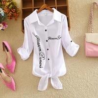 houthion printing chiffon womens blouses spring summer fashion casual retro temperament long sleeve blouse top woman shirt