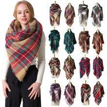 Européen et américain automne et hiver imitation cachemire double face coloré plaid carré écharpe dames châle