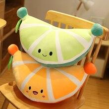 New 48cm Lovely Fruits Pillow Stuffed Soft Sofa Green Cushion Orange Pie Baby Plush Doll Kids Fruit Toys Children Birthday Gifts