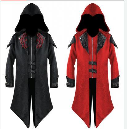 Chaqueta de traje Retro para hombre, Chaqueta larga gótica Steampunk, abrigo estilo victoriano, abrigo Cosplay con sombrero para disfraces de Halloween