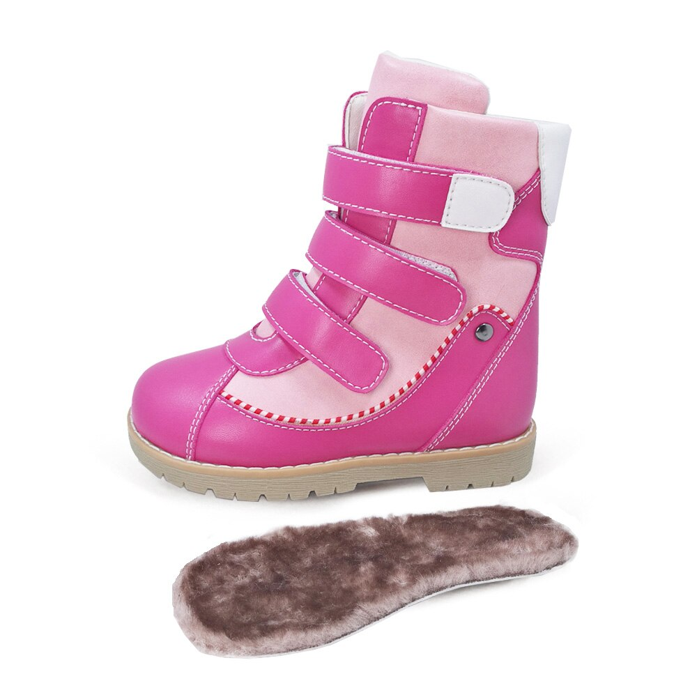 Children Winter Fur Boots Kid Boys Girls  High Top Orthopedic Microfiber Leather Snow Shoes With Removable Arch Support Insole enlarge