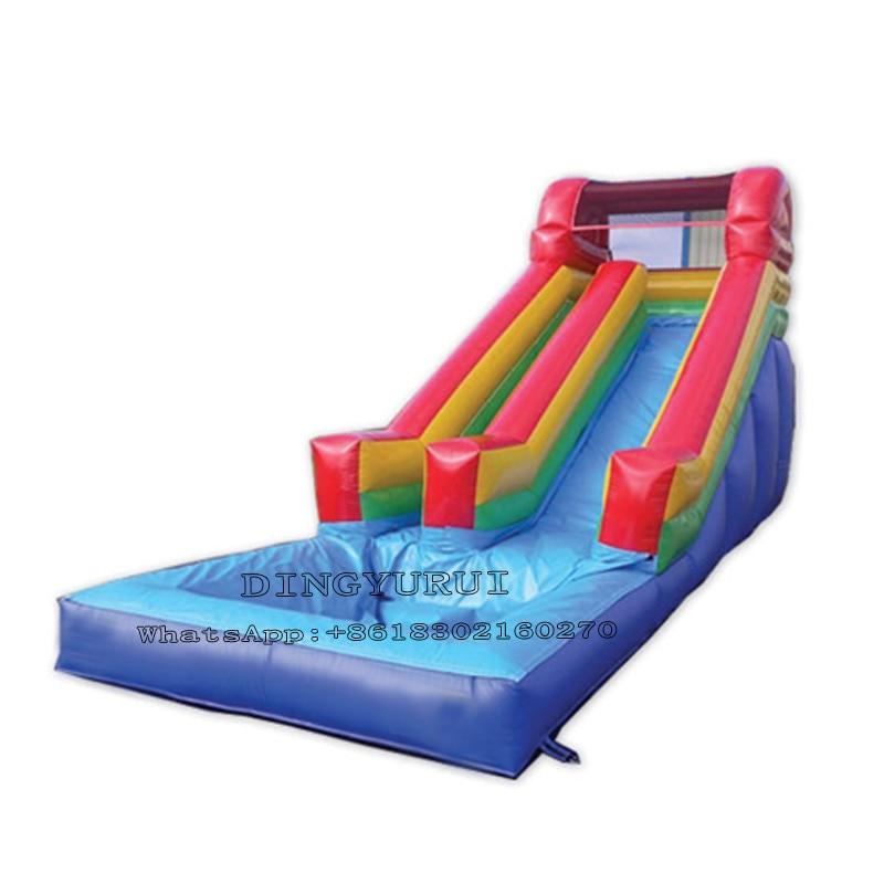 Tobogán inflable de doble carril para alquiler de fiestas comerciales, tobogán acuático gigante de PVC con piscina