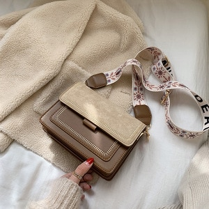 Fashion Contrast Color Women Bag High Quality Matte Messenger Bag Stripe Wide Shoulder Strap Bag Lady Small Casual Square Bag